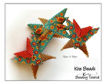 Easy Geometric Peyote Stitch Beaded Wings Spacer Beads Beading Patterns Instructions Warped Squares Delica Seed Bead Jewelery Tutorials KITE