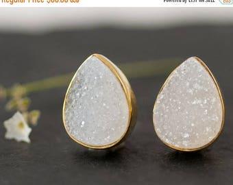 40 OFF - Druzy Stud Earrings - April Birthstone Studs - Gemstone Studs - Tear Drop Studs - Gold Stud Earrings - Post Earrings