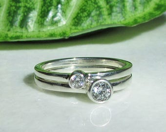 Diamond Stacking Ring Set, 3.5mm Diamond, 2.5mm Diamond, 1.5mm Bands, April Birthstone, Aries Zodiac Stone, Promise Ring Set, Wedding Rings