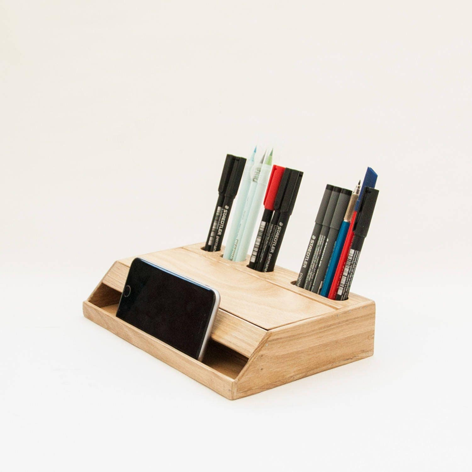 Wood handmade desk organizer office modern desk organizer - Wood desk organizer ...