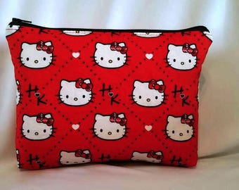 FAST SHIPPING//Kitty cosmetic bag//Large zipper Cosmetic/accessory Pouch