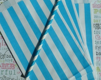GLAMSALE 50 Aqua Blue Stripe Party Favor Bags, Candy Bags, Wedding Favor Bags, Popcorn Bags, Cookie Bags, Treat Bags