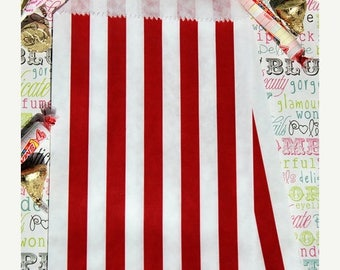 GLAMSALE 50 Red Stripe Party Favor Bags, Red Wedding Favor Bags, Candy Bags, Popcorn Bags, Carnival Bags, Patriotic Favor Bags