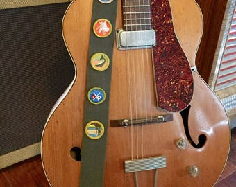 Vintage Boy Scout Sash guitar instrument trap brownie patches green army