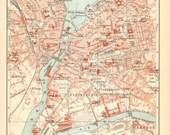1906 Dated City Map of Geneva, Switzerland