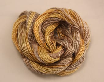 Beige Gold yellow Cotton Perle Embroidery thread hand dyed crochet tatting weaving yarn size 8 and 5 metallic sewing thread variegated