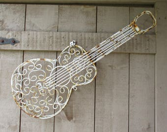 Vintage Ornament - Wrought Iron Guitar, Made in Mexico, Rustic Guitar, Music Room, Garden Decor, Cottage Decor, Rustic Party or Wedding