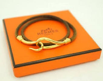 Hermès Gold-plated Jumbo Hook and Leather Choker and Box Bracelet