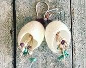 Pixie pod silkworm cocoon earrings with Kingman turquoise
