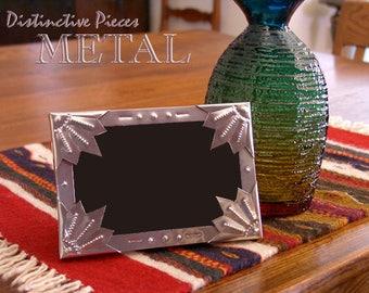 "Metal Picture Frame, Pointed Corner - Spanish Tinwork Style, NM Hand Punched Metal Frame, Southwestern 4 x 6"" Folk Art Photo Frame, FM0406-N"