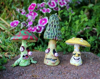 Walking Death Cap Polymer Clay Zombie Mushroom