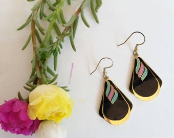 Vintage Enamel Drop Dangle Earrings 80's / 90's Black