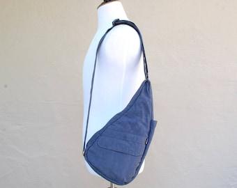Vintage Blue Nylon Ameribag USA Healthy Back Bag Purse Messenger Tote Organizer Vegan Natural Crossbody Bag Essential Pouch Biker Hipster