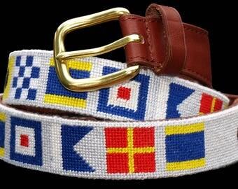 Custom Nautical Flag Needlepoint Belt