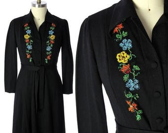 Sale 20% Off Luisa Spagnoli Vintage 50s RARE Dress Black Jersey Wool  Beaded SHirt Dress Large VLV Rockabilly