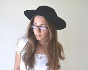 34% Off Sale - Wool Felt Hat Folk Boater Hat Early 1900s Antique Black California Gold Rush Era Cap Medium