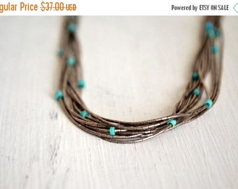 34% Off Sale - Multi Strand Necklace - 1970s Sterling Silver Bead Necklace - Vintage Turquoise Hippie Boho Jewelry