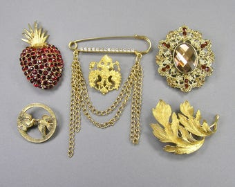 Vintage Brooch Lot, Red Rhinestone Pineapple, Leaf Brooch, Birds, Gold Tone, Rhinestone, Kilt Pin, Medallion