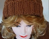 Medium Brown Chocolate Color Cable Hand-Knit Hat. Super soft - Ready to be Shipped
