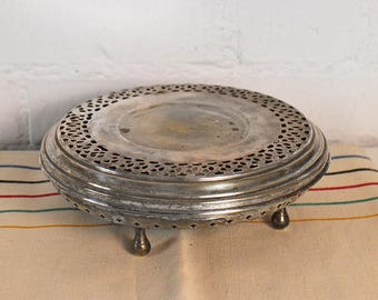 Antique French Plate Warmer - Serving platter Food Warmer - silver plate warmer