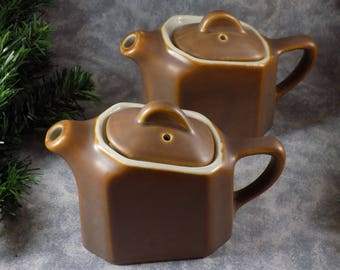 Pair Vintage Hall Slant Restaurant Ware Brown Individual Tea/Hot Water Pot