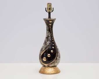 Midcentury Modern Black Gold Retro Ribbed Ceramic Lamp, 1950s