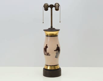 Decoupage Reverse Painted Hurricane Globe Glass Lamp, Greek Gods