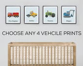Vehicle prints, toddlers print set, Construction Trucks, toddlers room decor, Transportation prints, Train prints, Car Decor, Fire Engines