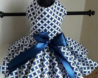 Dog Dress Navy and White