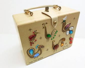 Enid Collins Jeweled Box Purse, For the Birds Enid Collins Handbag, Vintage Wooden Box Purse, Cigar Box Purse, Boho Wood Box Purse Handbag