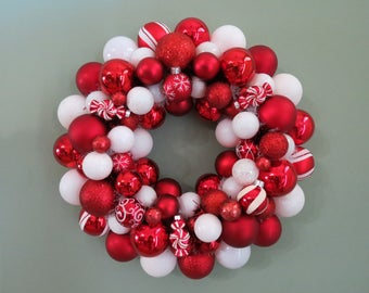 PEPPERMINT Christmas Wreath Red and White Ornament Wreath seen in SOUTHERN LIVING