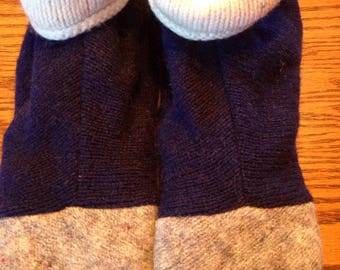 Navy blue  recycled wool sweater slippers, fleece lined, leather sole,size XL,fits sizes 11-12