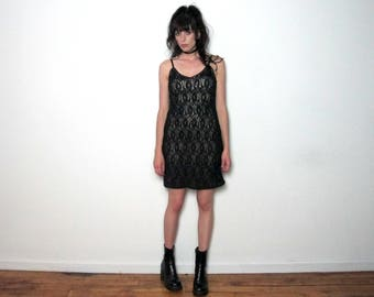 Black Lace Dress Sleeveless Floral Grunge 90s Goth Party VTG - Size S/M