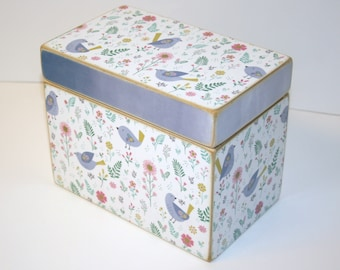 Blue Bird Recipe Box, Wild Flower Recipe Box, 4x6 Wood Box, Floral Recipe Box, Blue Kitchen, Girls Room Decor, Keepsake Box