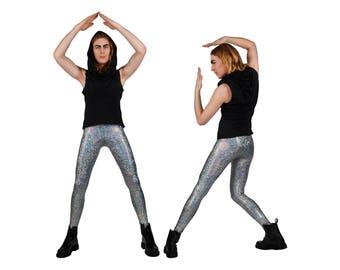 Men's Silver Leggings, Holographic Meggings, Burning Man, Glam Rock, Stage Wear, Spandex Pants, Men's Dance Costume, by LENA QUIST