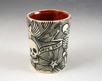 Day of the dead porcelain hand made shot glass with skulls skeletons and Carpe Diem