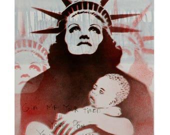Lady Liberty Painting 14x18 Street Art Pop Art Graffiti Inspired Original Artwork Americana Graffiti on Canvas Political Art Feminist Art