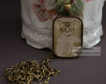 Cat Necklace, Animal Jewelry, Petite Pendant, Cat in Dress, Animal in Clothes