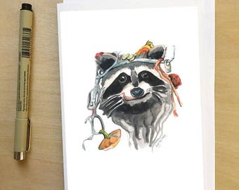 Dumpster Diving Raccoon, greeting card by Abigail Gray Swartz, Halloween and fall inspired creature