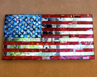Stained Glass Mosaic American Flag Outdoor or Indoor Installation United States of America Patriotic Stars & Strips Old Glory Art Impression