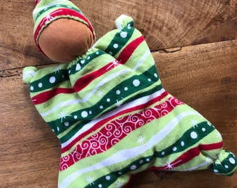 Butterfly Doll with Christmas Print and Red Brown Skin