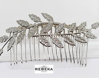 Wedding Hair Jewelry. Silver Hair Comb, Leaf Hair Comb, Bridal Hair Piece. Art Deco Hair Comb, Leaf Headpiece, Silver Branch Women Headpiece