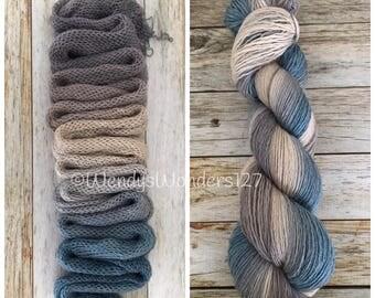 Hand Dyed Yarn, Gradient Yarn, Fingering Weight Yarn, Smoke and Water