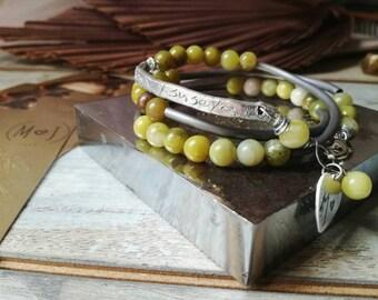 Handstamped bracelet, inspirational bangle, Beaded bracelet, natural gemstone, multistrand bracelet, boho bracelet, zen bracelet