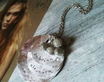 Family necklace, name necklace, personalized necklace, handstamped necklace, dedicated necklace, boho necklace, gemstone necklace