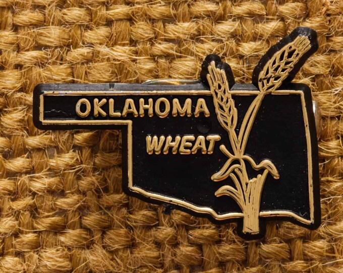 Oklahoma Button Vintage Wheat Pin-Back Button Vtg Pin 7S
