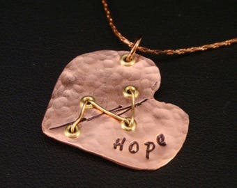 SALE CIJ2017 Hope Heart in Copper for CHD Awareness / Chd Necklace / Hlhs Necklace / Heart Surgery Necklace / Broken Heart Necklace / Hope N