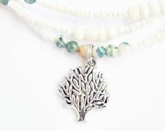 Spiritual Waist Beads, Moss Agate Tree Of Life Waist Beads, Green and White Waist Beads, Moss Agate Belly Chain, Gemstone Waist Beads