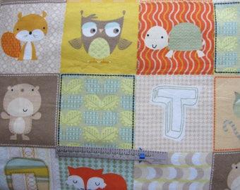 Fox Bear Owl Raccoon Beaver Turtle Leaves Squares 41 x 41 Handmade Flannel Receiving Swaddle Baby Blanket