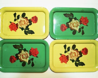 Vintage Set of 4 Metal Snack Lap Trays, Green & Yellow with Litho of Roses, Chippy Shabby Decor